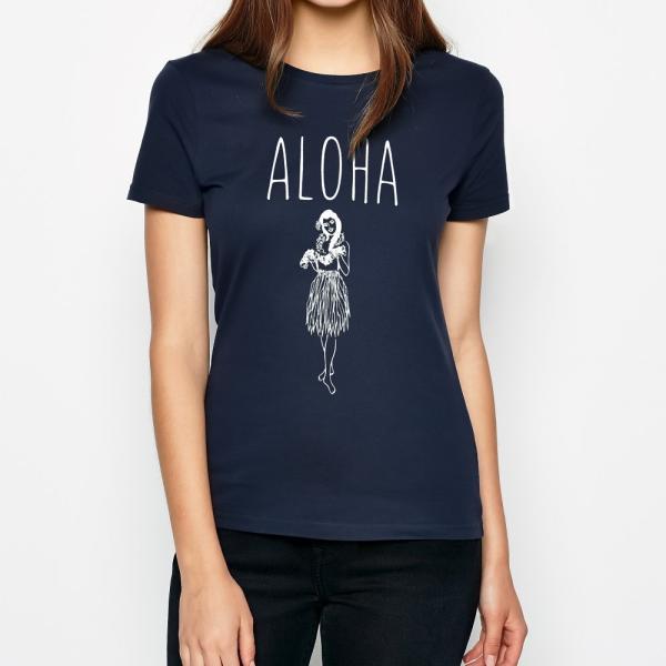 Tシャツ ALOHA アロハ フラガール ハワイ フラダンス HULA サーフ レディース 半袖 ホワイト ネイビー HOLIDAZE ホリデイズ|horizonblue|04