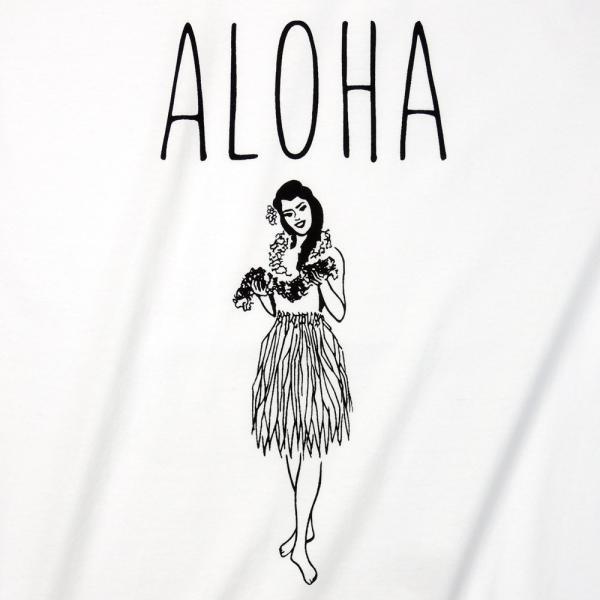 Tシャツ ALOHA アロハ フラガール ハワイ フラダンス HULA サーフ レディース 半袖 ホワイト ネイビー HOLIDAZE ホリデイズ|horizonblue|05