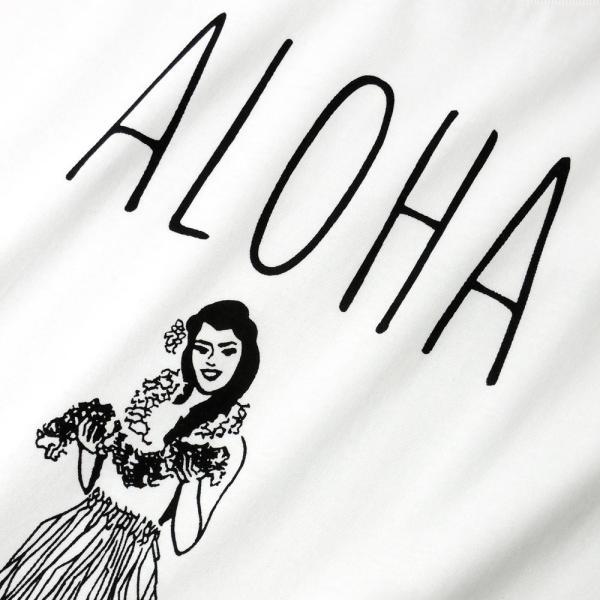 Tシャツ ALOHA アロハ フラガール ハワイ フラダンス HULA サーフ レディース 半袖 ホワイト ネイビー HOLIDAZE ホリデイズ|horizonblue|06