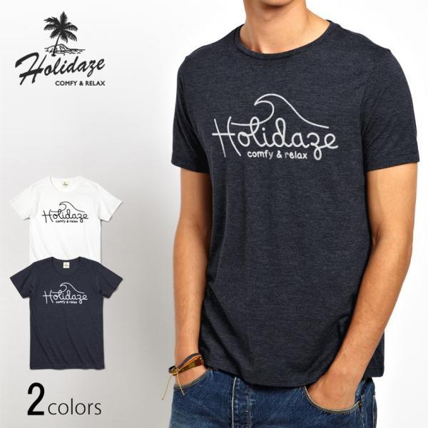 Tシャツ WAVE LOGO ウェーブ 波 サーフ ブランド ビーチ アロハ ハワイ メンズ 半袖 ホワイト ネイビー HOLIDAZE ホリデイズ|horizonblue