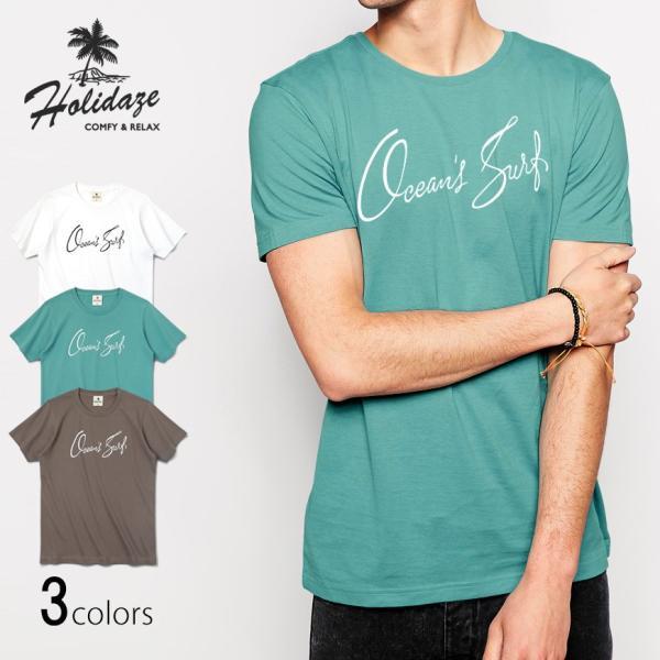 Tシャツ OCEAN'S SURF オーシャン サーフ 半袖 ユニセックス メンズ レディース ホワイト オーシャン チャコール HOLIDAZE ホリデイズ|horizonblue