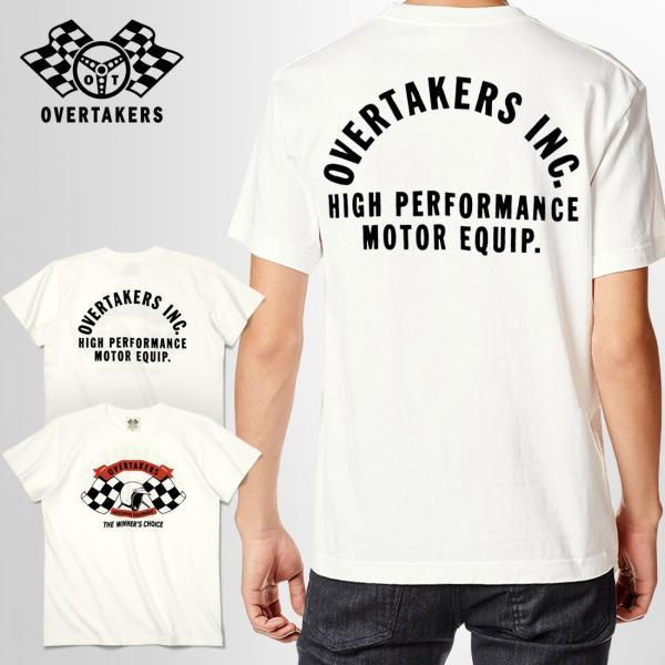 Tシャツ モーター系 半袖 メンズ 自動車 レーシング スポーツ アメカジ ホワイト THE 500 - OVERTAKERS(オーバーテイカーズ)|horizonblue