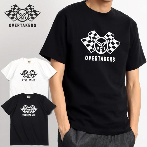 Tシャツ モーター系 レーシング 自動車 バイカー CHECKERED LOGO チェッカーフラッグ ロゴTシャツ - OVERTAKERS(オーバーテイカーズ )|horizonblue