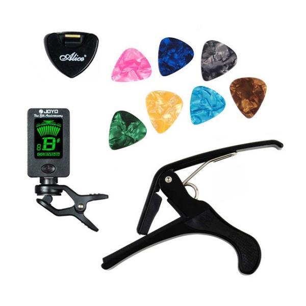 ギター用ツールセットギターチューナー+カポ+バチホルダー+7セルロイドピックチューニング