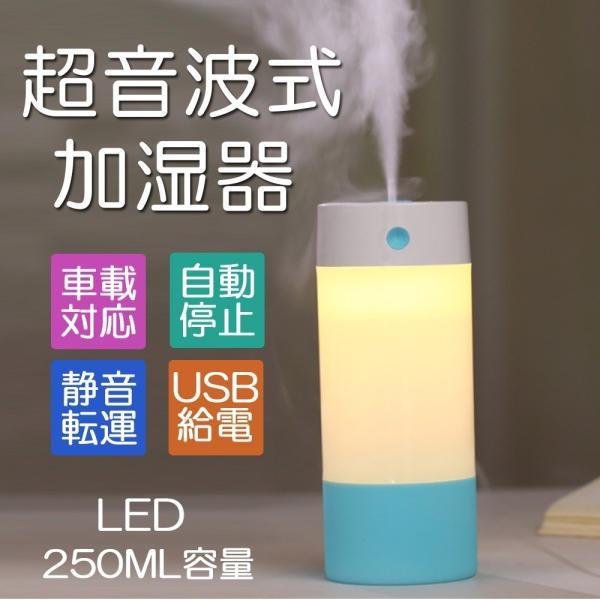 【令和セール】加湿器 超音波式 ミニ加湿器 USB接続 卓上 LED付き ペットボトル 省エネ 水漏れ防止 オフィス用 車用 家庭用 マイクロミスト