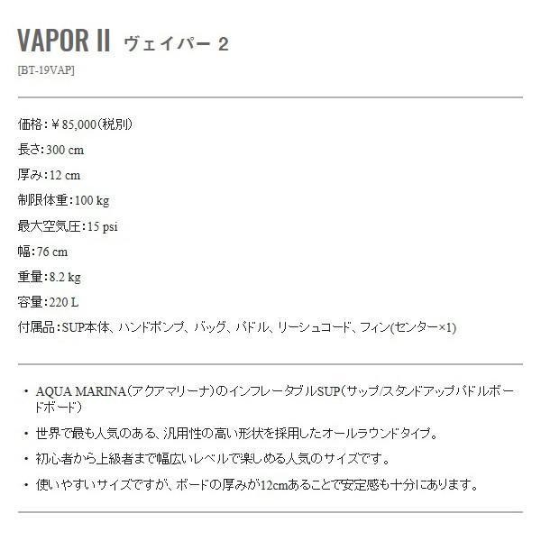 AQUA MARINA インフレータブルSUP VAPOR II 9'10 パドル・リーシュセット BT-19VAP 正規品 1world hotobama 10