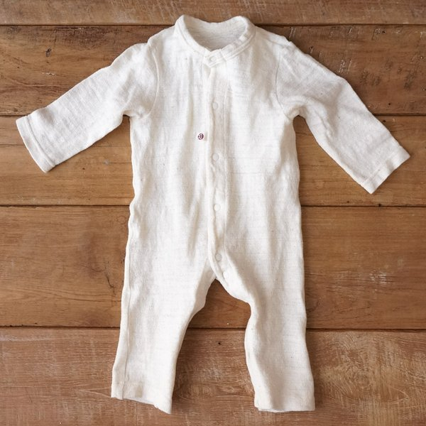 d280df04dec09  ベビーウェア ベビーロンパース長袖 50〜60cmサイズ 新生児 心地好い肌触りのベビーウェア 生成 無地 綿素材100% 丁寧に作られたベビー服