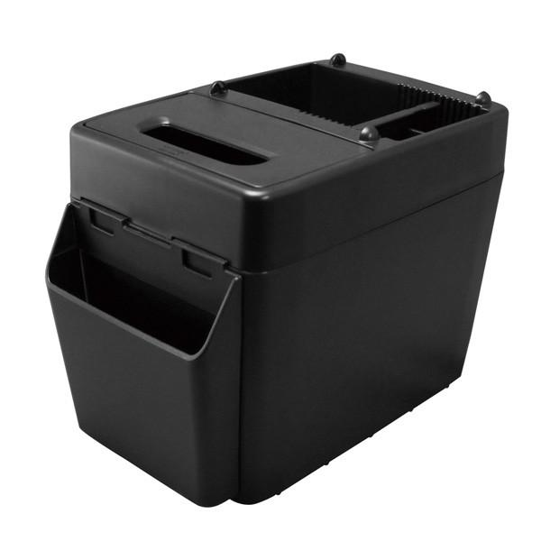 ゴミ箱 車 ラージトラッシュ3 ブラック 小物入れ付き ボックスティッシュ置き ウォークスルーに最適/ヤック PZ-593|hotroad