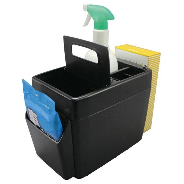 ゴミ箱 車 ラージトラッシュ3 ブラック 小物入れ付き ボックスティッシュ置き ウォークスルーに最適/ヤック PZ-593|hotroad|03