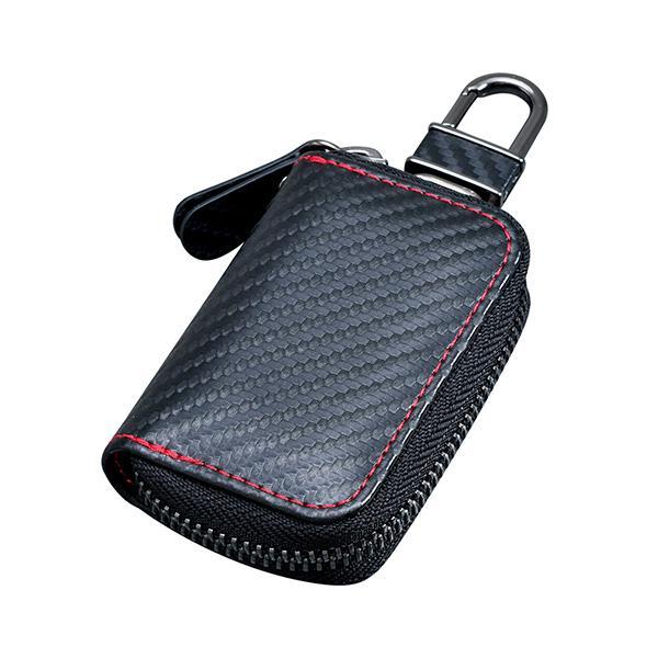 カーボン スマートキーケース 鍵入れ ブラック コンパクト ミニポケット付 カラビナフック 落下防止 セイワ WA11