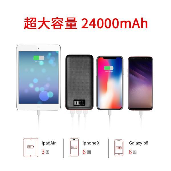 モバイルバッテリー 大容量 急速充電 充電器 24000mAh 急速 充電 iPhone iPad Android 各種対応|hotsale|02