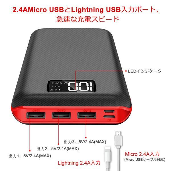 モバイルバッテリー 大容量 急速充電 充電器 24000mAh 急速 充電 iPhone iPad Android 各種対応|hotsale|03