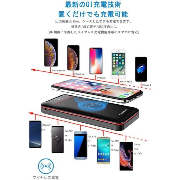 モバイルバッテリー Qi ワイヤレス充電 急速 大容量 急速充電 充電器 qiワイヤレス充電器 置くだけ充電 24000mAh バッテリー|hotsale|03