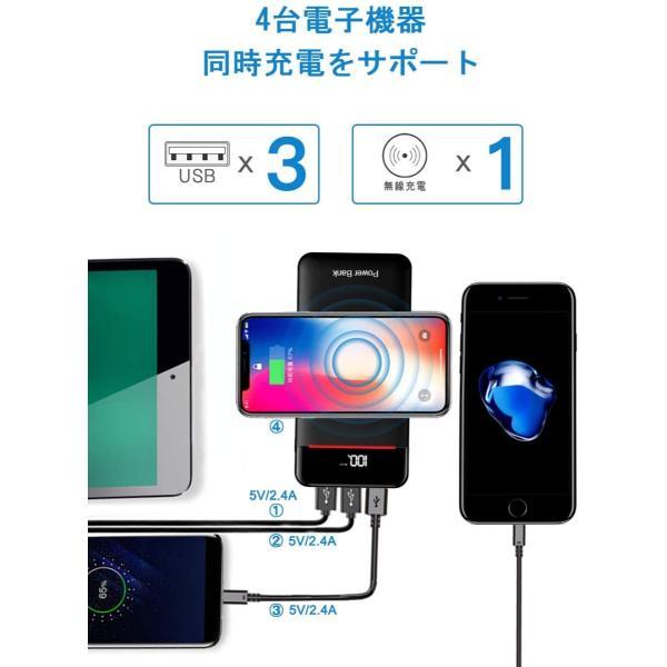 モバイルバッテリー Qi ワイヤレス充電 急速 大容量 急速充電 充電器 qiワイヤレス充電器 置くだけ充電 24000mAh バッテリー|hotsale|04