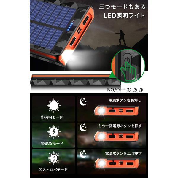 モバイルバッテリー ソーラーチャージャー 24000mAh 大容量 電源充電可能 急速充電 太陽光で充電でき Android Apple iPad 対応|hotsale|05