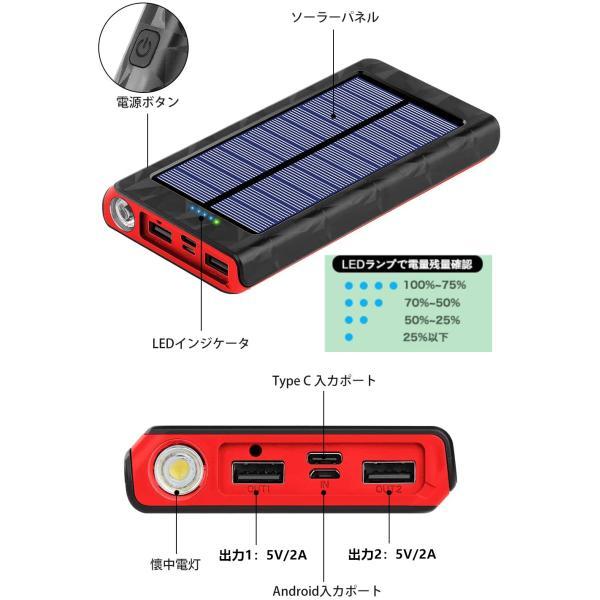 モバイルバッテリー ソーラーチャージャー 大容量 ソーラー 急速充電 ソーラー充電器 Android Apple iPad 対応 24000mAh / 22000mAh hotsale 07