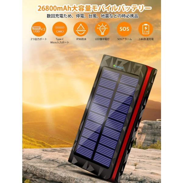 モバイルバッテリー ソーラーチャージャー 大容量 ソーラー 急速充電 ソーラー充電器 Android Apple iPad 対応 24000mAh / 22000mAh hotsale 08