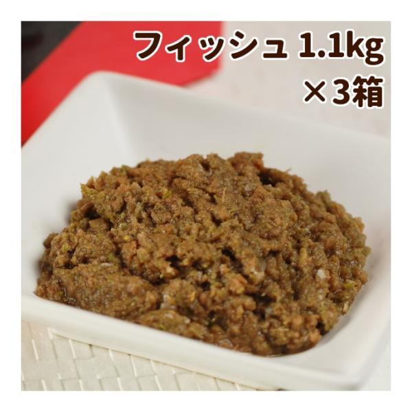 おまけ付き 犬 生肉 無添加 ドッグフード ボーン BONE フィッシュ 魚 1.1kg×3箱 生食 ローフード 野菜入り 酵素 乳酸菌 生骨 離乳食 流動食