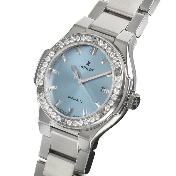 ウブロ HUBLOT クラシックフュージョン チタニウム ライトブルー ブレスレット 585.NX.891L.NX.1204 中古 レディース 腕時計|houseki-h|02