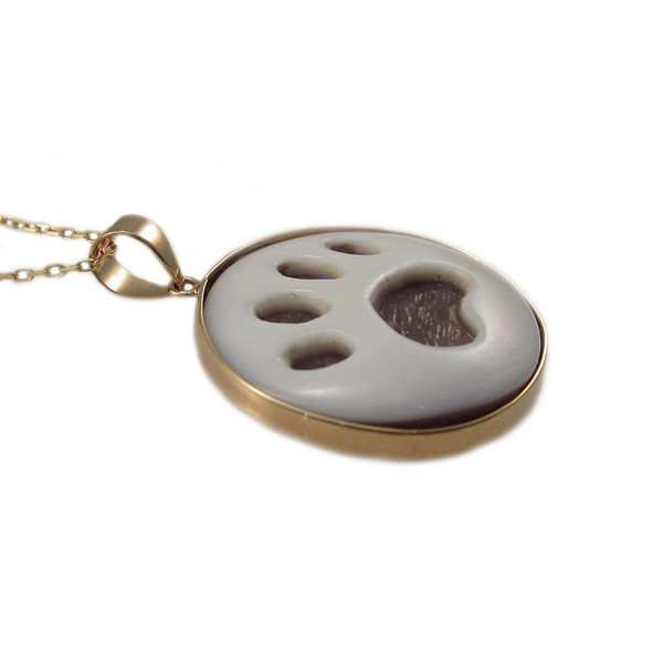 犬の足跡 肉球モチーフ シェル カメオ ペンダントネックレス ピンクゴールド製