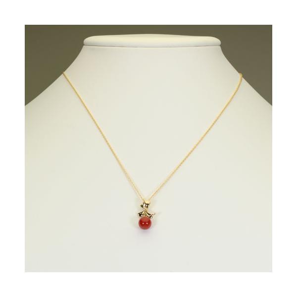 赤珊瑚 ペンダント リボン K18YG (無染色) (サンゴ さんご ) SANSUI