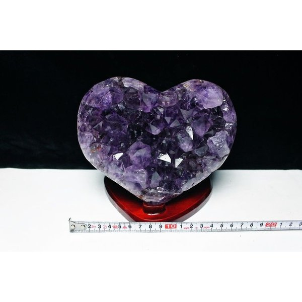 1.8Kgパワーストーン 天然石 ゴールドタイチンルチルアメジストハート置物 t602-1774