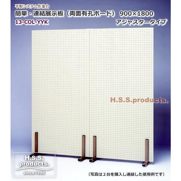 (平野システム作業台)簡単・連結展示パネル(展示板)有孔×有孔900(両面有孔ボード) アジャスタータイプ 有孔フック付※写真は2台購入時使用例|hss-products
