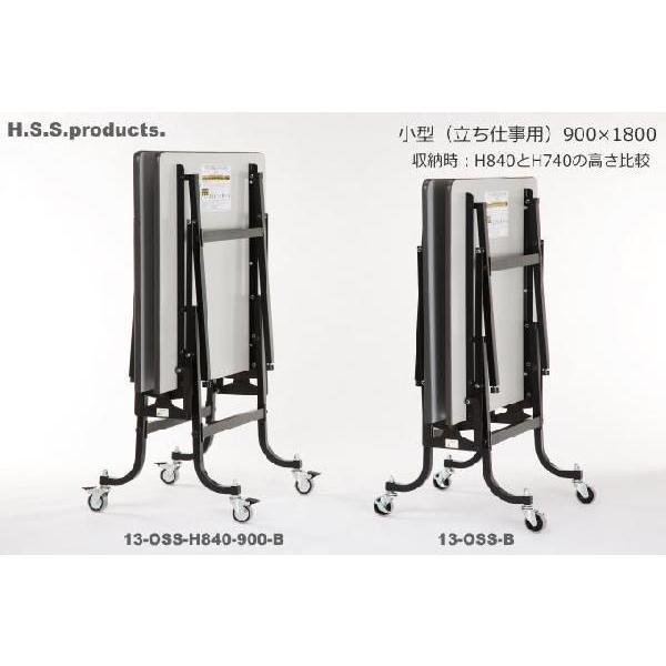 折りたたみ作業台ブラック:立ち仕事用(低)(平野システム作業台)(折りたたみ作業テーブル) 小型(900×1800×高さ740) 天板フロアリューム)|hss-products|02