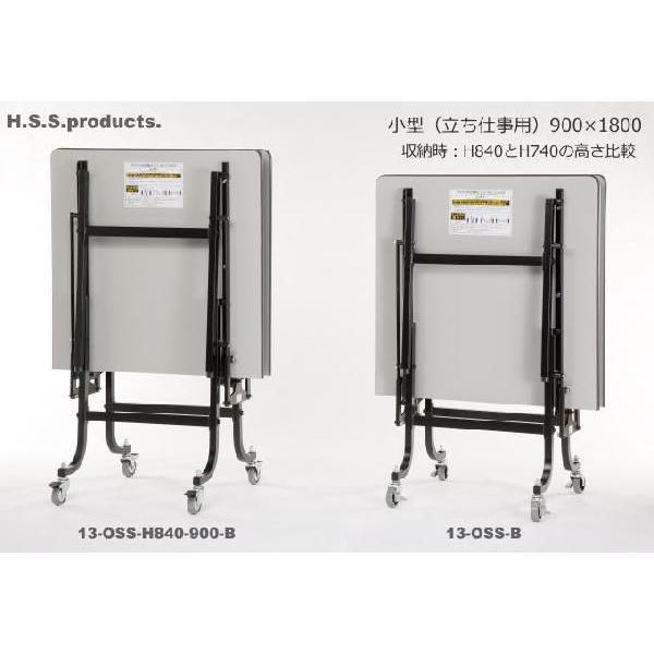 折りたたみ作業台ブラック:立ち仕事用(低)(平野システム作業台)(折りたたみ作業テーブル) 小型(900×1800×高さ740) 天板フロアリューム)|hss-products|03