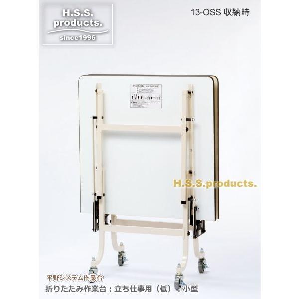 折りたたみ作業台アイボリー:立ち仕事用(低)(平野システム作業台)(折りたたみ作業テーブル) 小型(900×1800×高さ740) 天板フロアリューム|hss-products|02