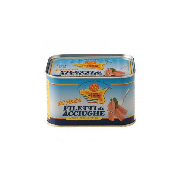 (送料無料・代引&同梱不可)ペッシェアッズッロ ピースアンチョビ ひまわりオイル漬け 720g 12缶セット 7125