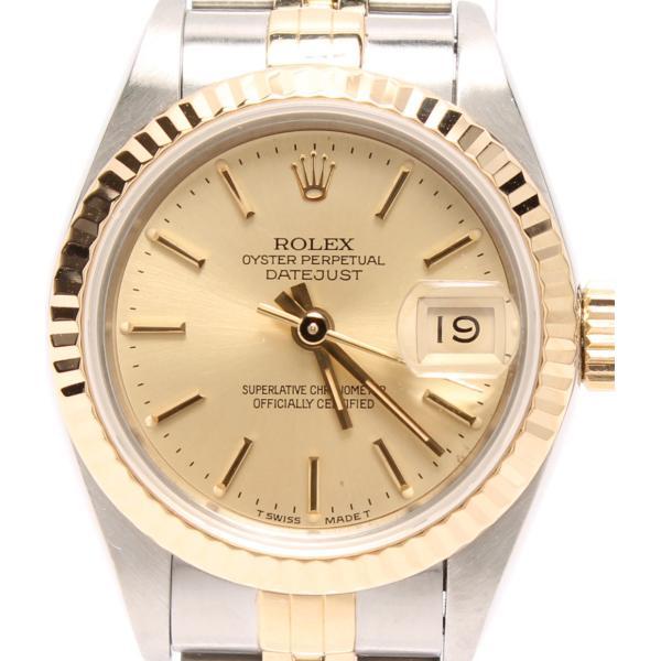 bc17d3740b ロレックス 腕時計 オイスターパーペチュアル デイトジャスト 自動巻き ゴールド ROLEX レディース 中古|hugall ...