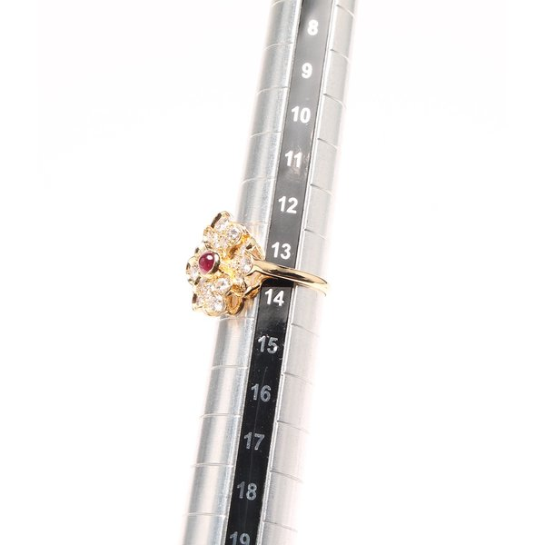 美品 ショーメ ルビー ダイヤ フラワーモチーフ リング K18 レディース SIZE 13号 (リング) CHAUMET 中古