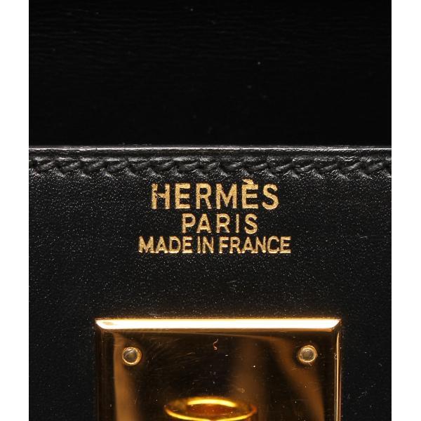 美品 エルメス レザーハンドバッグ ケリー □D ブラック HERMES レディース
