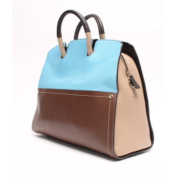 美品 フルラ 2WAYレザーハンドバッグ ブルー×ブラウン FURLA レディース