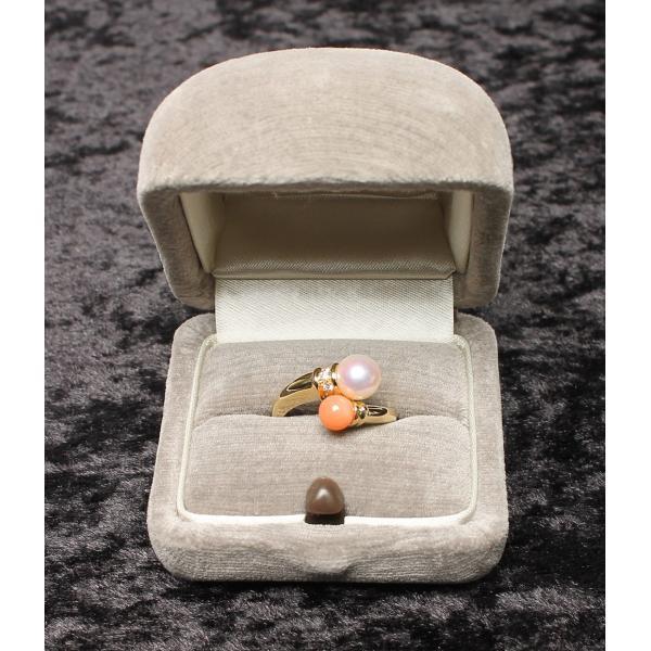 美品 ミキモト K18YG パール 6mm 珊瑚 5mm ダイヤ リング レディース SIZE 11号 (リング) MIKIMOTO 中古