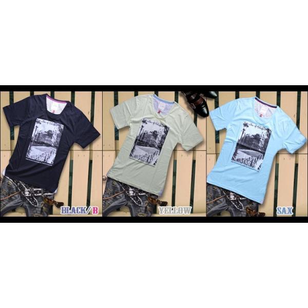 カットソー メンズ 黒 白 水色 緑 黄色 Tシャツ トップス|hukudokoro|09