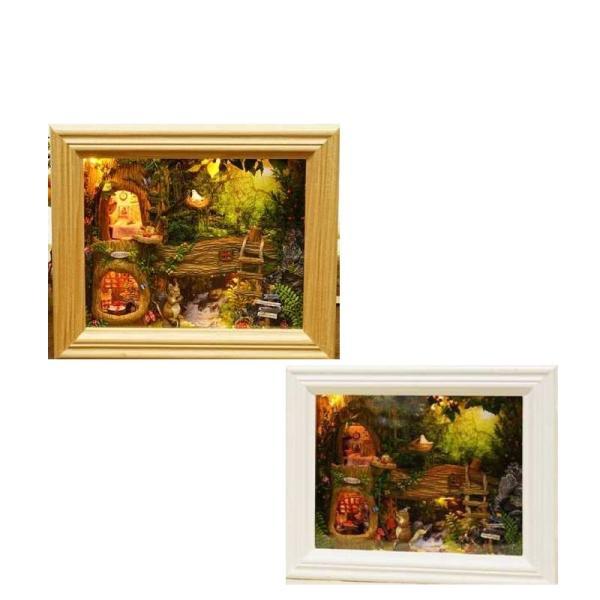 ミニチュア ジオラマ キット 額縁 リス フォトフレーム 壁掛け ドールハウス DIY DIYキット 模型 森 980711 humming-f