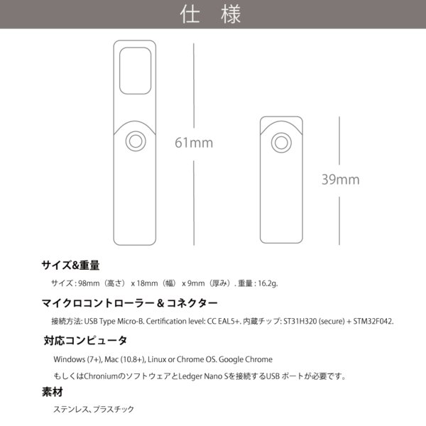 仮想通貨 Ledger Nano S ハードウェアウォレット レジャー ナノS 暗号通貨 ビットコイン リップル イーサリアム 日本語サポート 日本正規販売店 送料無料|hwwj|07