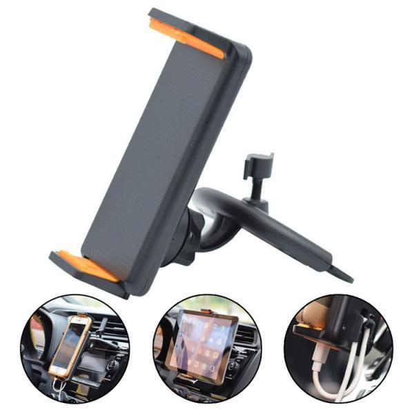 車載ホルダー タブレッドホルダー CDスロット スマホホルダー 4-12インチ対応 360度回転 USBケーブルの整理 ipad 2色|hyp358