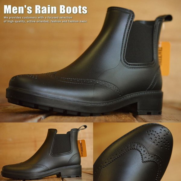 レインブーツTR-744ブーツメンズサイドゴア靴長靴レインシューズウイングチップブラック■050924プレゼントギフト