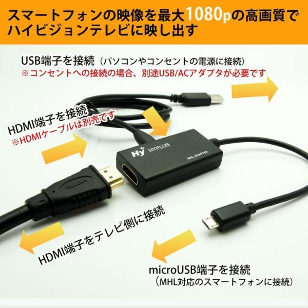 Hy+ MHL-HDMI変換アダプタ HY-MHL1 給電用microUSBケーブル付属 Xperia Z5 Z4 Z3、Arrows NX F-04G、F-02Hに対応!スマホの画面をテレビに出力|hyplus|02