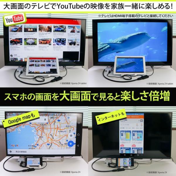 Hy+ MHL-HDMI変換アダプタ HY-MHL1 給電用microUSBケーブル付属 Xperia Z5 Z4 Z3、Arrows NX F-04G、F-02Hに対応!スマホの画面をテレビに出力|hyplus|05