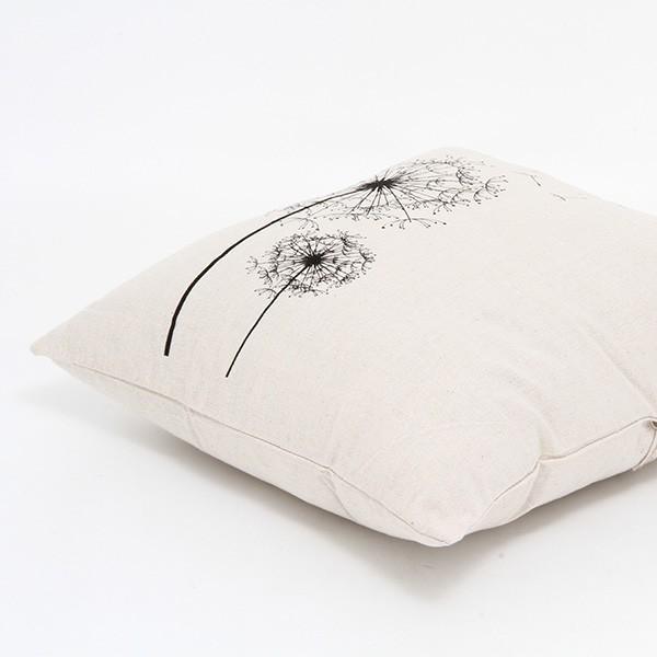 クッションカバー タンポポ 45×45cm かぶせ式 ナチュラル アイボリー たんぽぽの綿毛 hypnos 04