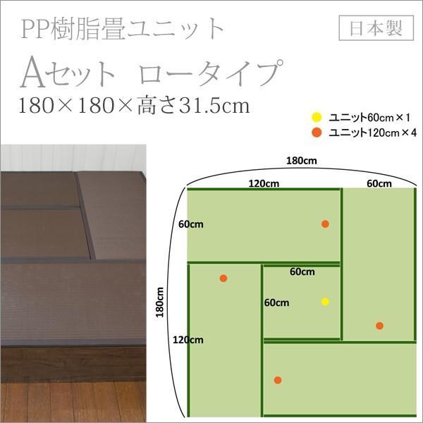 畳 ユニット ベンチ 収納 ボックス 日本製 たたみ タタミ 箱 PP樹脂製 ロータイプ Aセット ブラウン 幅120cm 幅60cm 約 高さ32cmのセット i-11myroom