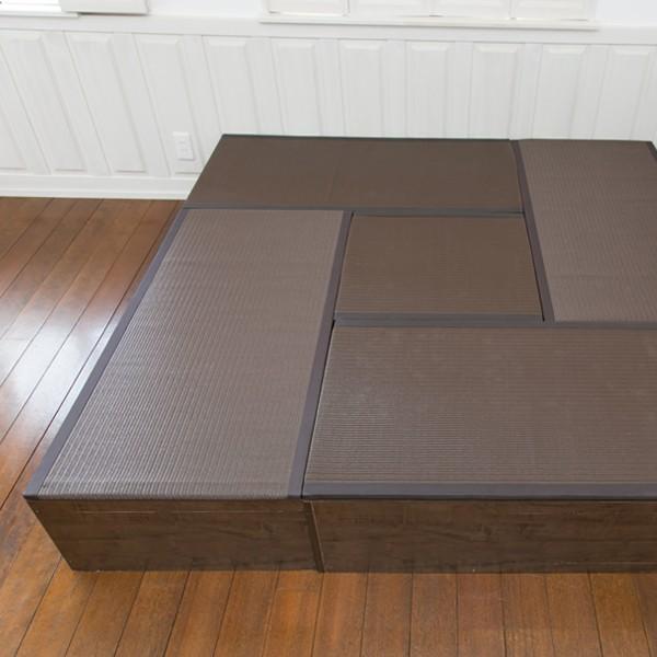 畳 ユニット ベンチ 収納 ボックス 日本製 たたみ タタミ 箱 PP樹脂製 ロータイプ Aセット ブラウン 幅120cm 幅60cm 約 高さ32cmのセット i-11myroom 03