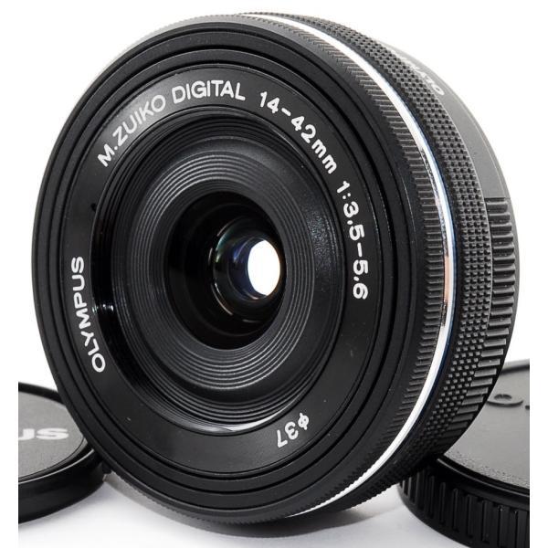 標準レンズ 中古 保証 超美品 OLYMPUS オリンパス M.ZUIKO DIGITAL ED 14-42mm F3.5-5.6 EZ ブラック