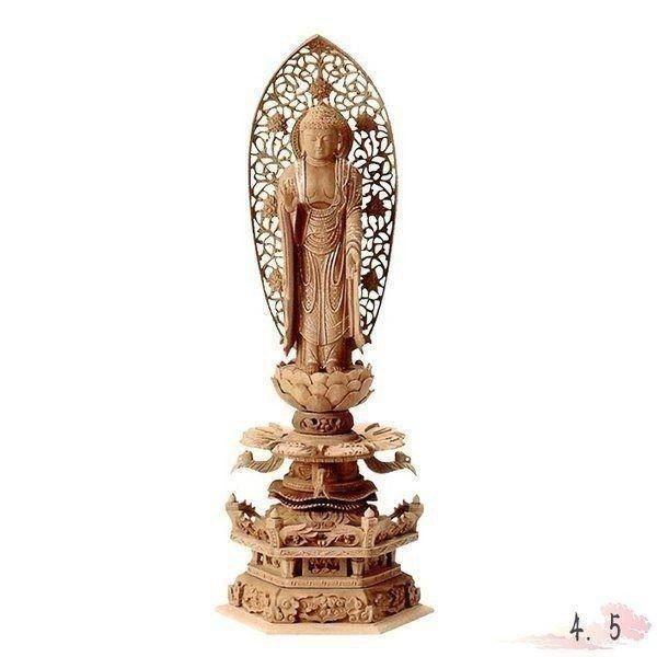 仏像 白檀 六角台座ケマン付 舟立弥陀 唐草光背 金泥書 4.5寸 仏具 仏教 本尊 仏壇 Butsuzo a Buddhist image a statue of Buddha