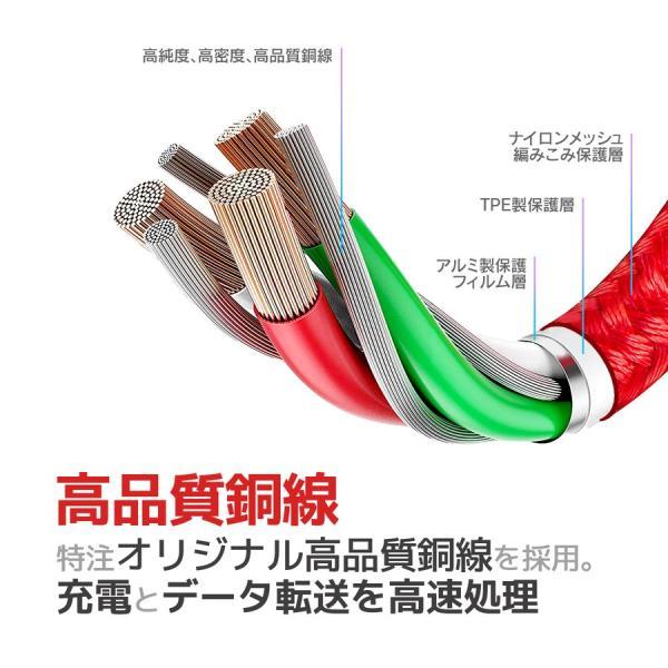 Micro USB 充電ケーブル 充電器 スマホ モバイルバッテリー 2m 2.5m Android 断線防止 急速充電 コード ケーブル 高耐久 長持ち 安心3ヵ月保証|i-concept|07