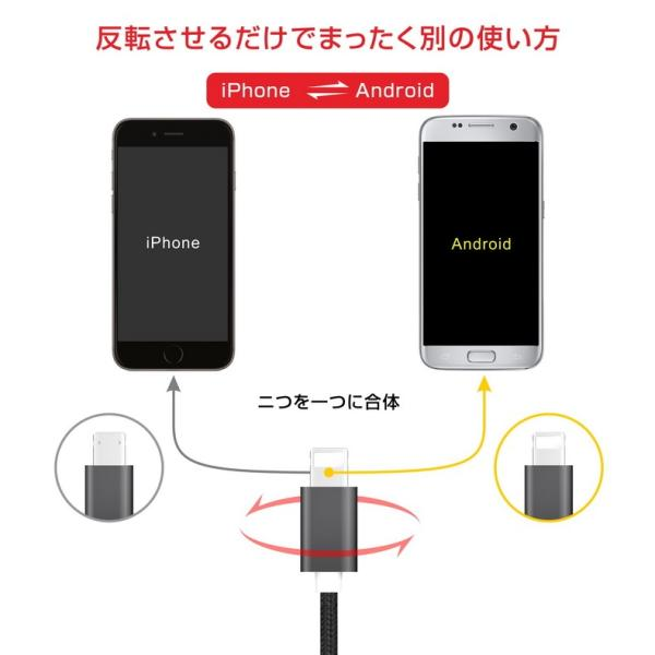iPhone 充電ケーブル MicroUSB スマホ 急速充電 高耐久 充電器 2m 断線防止 コード iPhoneX 8 7 6 Plus iPad 2in1 PL保険加入済み|i-concept|04